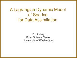 A Lagrangian Dynamic Model  of Sea Ice  for Data Assimilation