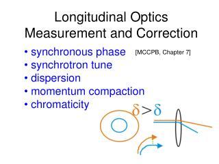 synchronous phase  synchrotron tune   dispersion  momentum compaction  chromaticity