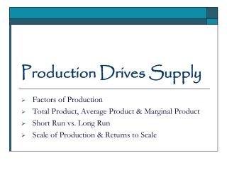 Production Drives Supply