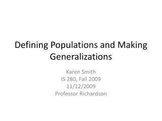 Defining Populations and Making Generalizations