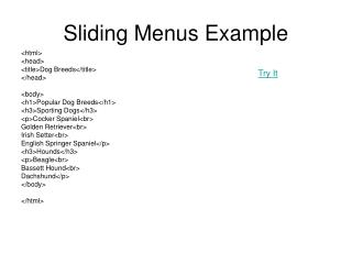 Sliding Menus Example