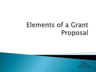 Elements of a Grant Proposal
