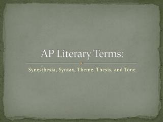 AP Literary Terms:
