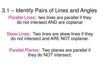3.1 – Identify Pairs of Lines and Angles