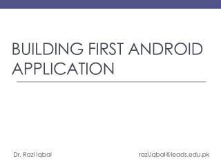 Building first android application