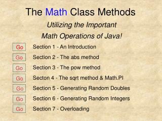The  Math  Class Methods