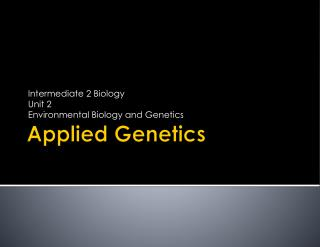 Applied Genetics