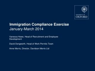 Immigration Compliance Exercise  January-March 2014