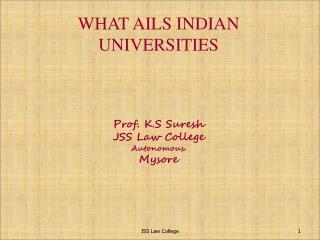 WHAT AILS INDIAN  UNIVERSITIES Prof. K.S Suresh JSS Law College Autonomous. Mysore