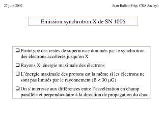 Emission synchrotron X de SN 1006