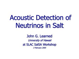 Acoustic Detection of Neutrinos in Salt