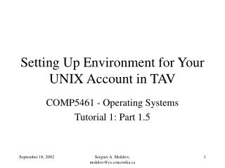 Setting Up Environment for Your UNIX Account in TAV