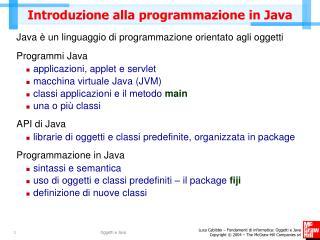 Introduzione alla programmazione in Java
