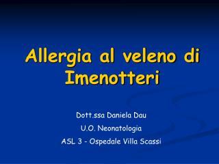 Allergia al veleno di Imenotteri