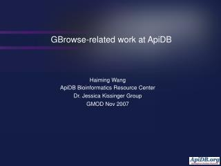 GBrowse-related work at ApiDB