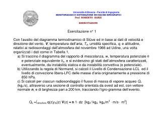 Università di Brescia - Facoltà di Ingegneria  MONITORAGGIO E SISTEMAZIONE DEI BACINI IDROGRAFICI