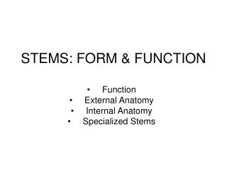 STEMS: FORM & FUNCTION
