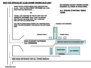 MAP FOR SPECIALIST CLUB CHAMP SHOWS 06.07.2007