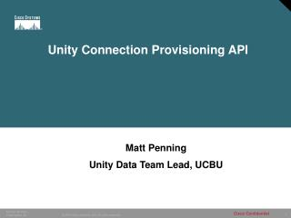 Unity Connection Provisioning API