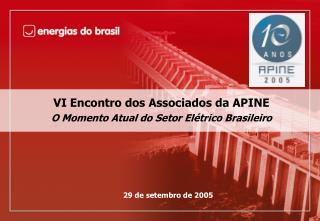 VI Encontro dos Associados da APINE O Momento Atual do Setor Elétrico Brasileiro
