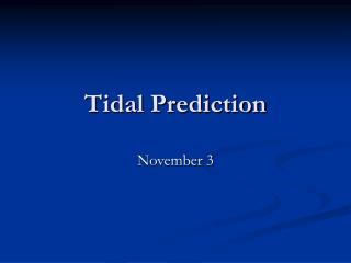 Tidal Prediction