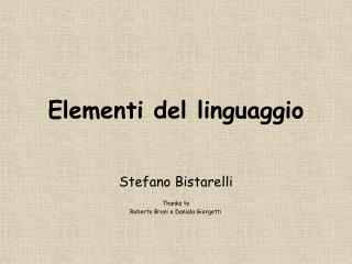 Elementi del linguaggio