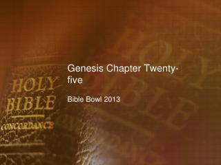 Genesis Chapter Twenty-five