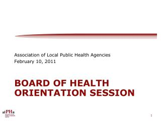 Board of Health orientation session