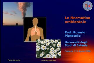 La Normativa ambientale Prof. Rosario Pignatello Università degli Studi di Catania