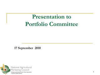Presentation to  Portfolio Committee