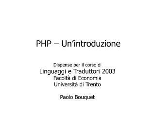 PHP – Un'introduzione