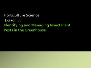 Horticulture Science Lesson 37 Identifying and Managing Insect Plant Pests in the Greenhouse