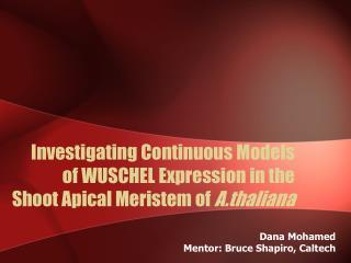 Dana Mohamed Mentor: Bruce Shapiro, Caltech
