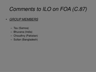 Comments to ILO on FOA (C.87)