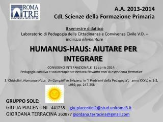 A.A. 2013-2014   CdL Scienze della Formazione Primaria