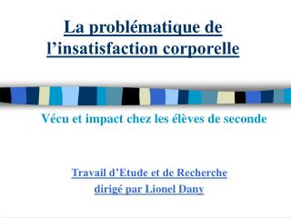 La probl matique de l insatisfaction corporelle