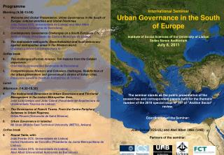 International Seminar Urban Governance in the South of Europe