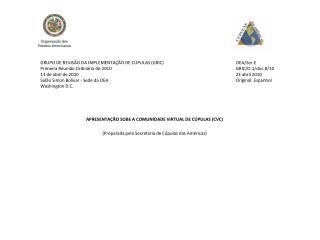 APRESENTAÇÃO SOBE A  COMUNIDADE  VIRTUAL DE CÚPULAS (CVC)