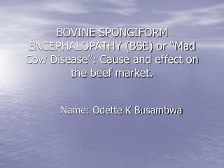 "BOVINE SPONGIFORM ENCEPHALOPATHY (BSE) or ""Mad Cow Disease"": Cause and effect on the beef market."
