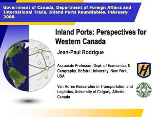 Inland Ports: Perspectives for Western Canada