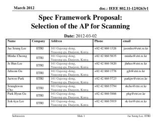 Spec Framework Proposal: Selection of the AP for Scanning