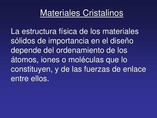 Materiales Cristalinos