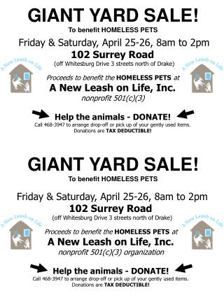 GIANT YARD SALE! To benefit HOMELESS PETS