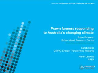 Prawn farmers responding  to Australia's changing climate