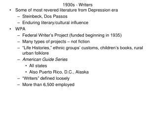 1930s - Writers