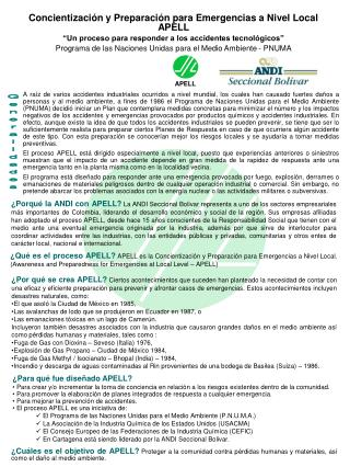 Concientizaci�n y Preparaci�n para Emergencias a Nivel Local APELL