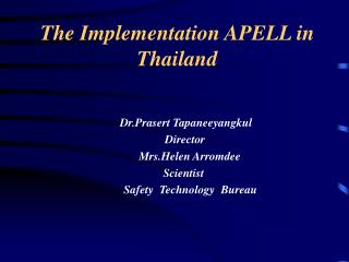 The Implementation APELL in Thailand