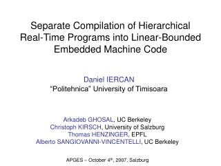 Separate Compilation of Hierarchical Real-Time Programs into Linear-Bounded Embedded Machine Code