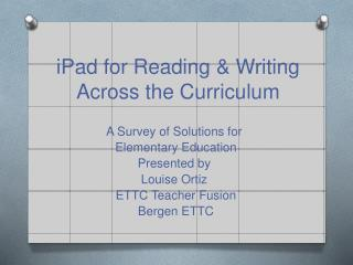 iPad for Reading & Writing Across the Curriculum