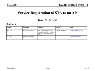 Service  Registration of STA to an AP